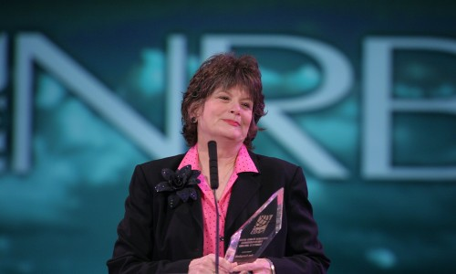 Peggy Campbell, accepting the NRB William Ward Ayer Award (2006) given to Jon Campbell